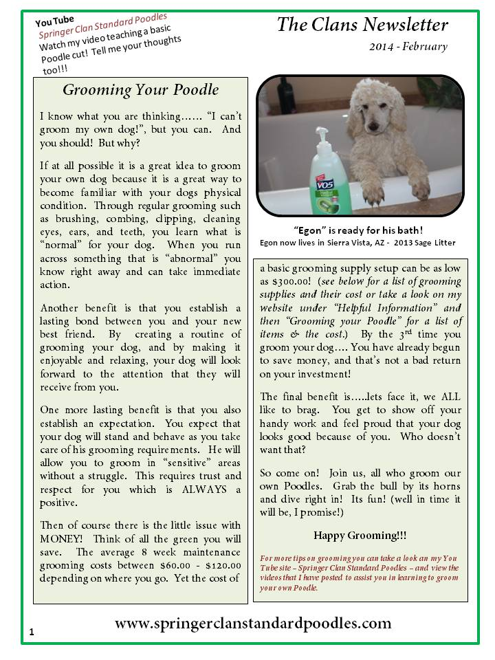 2014.2 The Clans Newsletter - Grooming Your Poodle (1)