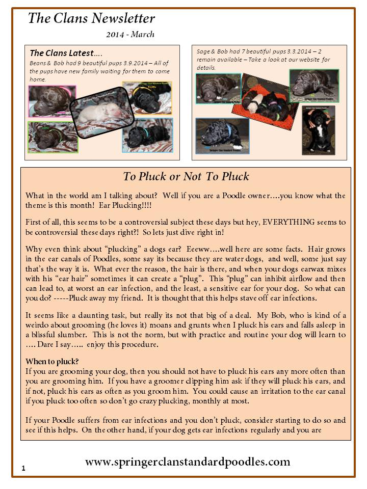 2014.3 The Clans Newsletter - To Pluck or Not to Pluck (1)